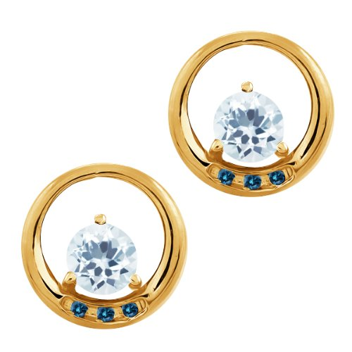 0.92 Ct Round Sky Blue Aquamarine and Diamond Gold Plated Silver Earrings