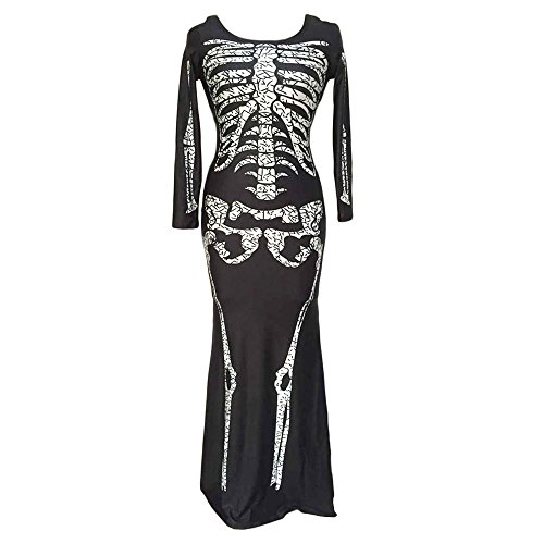 [E-Laurels Halloween Long Skeleton Skull Bone Dress Role Play Costume] (Creative Homemade Group Costumes)