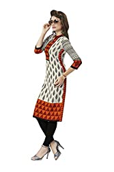 AMP IMPEX Ethnicwear Women's Kurti Fabric Off-White Free Size