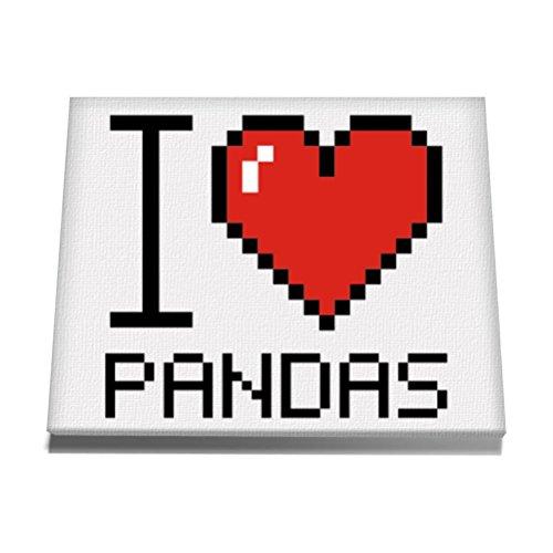 Teeburon-I-love-Panda-pixelated-Canvas-Wall-Art-12-x-8-Inch