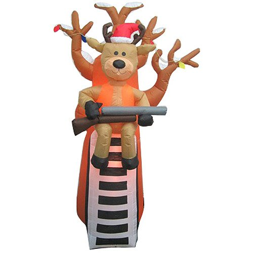Holiday Time Large Airblown Inflatables Reindeer in Tree Stand 7 Feet Tall