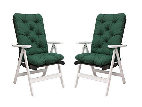 Ambientehome-90491-2er-Set-verstellbar-Hochlehner-Stranda-weisstaupe-grau-braun-inkl-grne-Auflage-Gartenstuhl-Holzstuhl-ANGEBOT