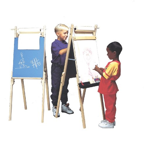 Kids Creative Art Easels, 2 Sided for 2 Users (Chalkboard and Whiteboard), Height Adjustable, a Roll of Paper Included,