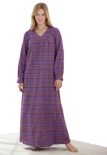 Only Necessities Women's Plus Size Soft Flannel Plaid Gown