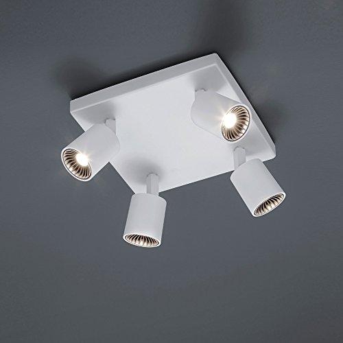 LED-Deckenstrahler aus Metall - inklusive 4 × 5W COB - LED, in Weiß lackiert + Extra 1x GU10 LED Leuchtmittel zur freien Nutzung