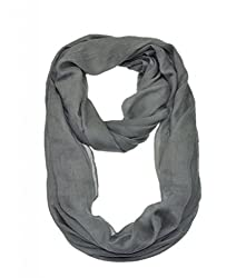 WishCart Women's Infinity Loop Scarf Solid Color 9 Different Colors With Bigger Size-Gray