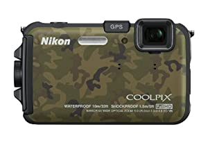 Nikon COOLPIX AW100 16 MP CMOS Waterproof Digital Camera with GPS and Full HD 1080p Video (Camouflage)