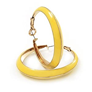 Bright Yellow Hoop Earrings (Gold Tone Metal) - 5cm Diameter
