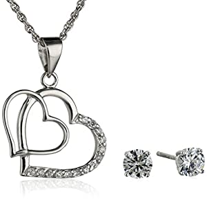 Sterling Silver Double Heart Cubic Zirconia Earrings and Pendant Necklace Set, 18""