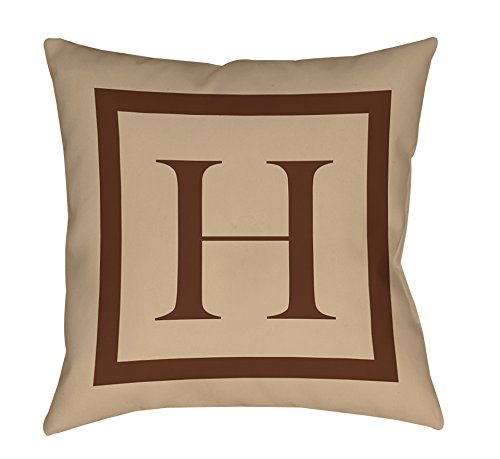 Thumbprintz Square Indoor/Outdoor Pillow, 18-Inch, Monogrammed Letter H, Caramel Classic Block front-435161