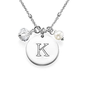 Initial Disc Necklace with Charm- Custom Made with any Initial! (Sterling Silver, 14 Inches)