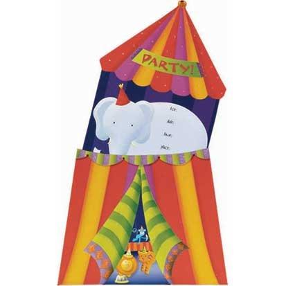 Circus Jumbo Invitations 8ct