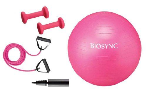 Biosync 65cm Gym Ball w/ Pump, Resistance Bands & 1KG Dumbbell Set