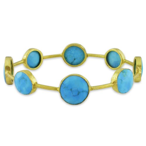 22k Yellow Gold Plated Silver 32ct TGW Turquoise Bangle