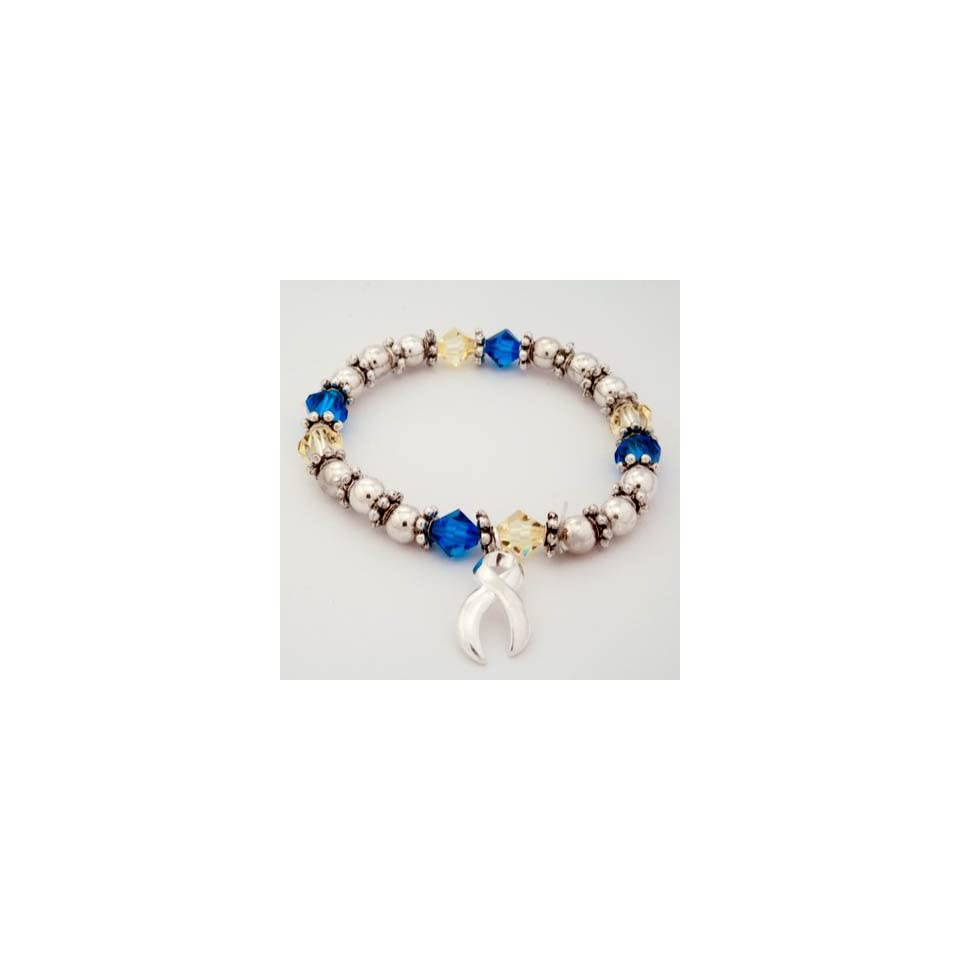 Down Syndrome Awareness Swarovski Crystal Beaded Charm Bracelet