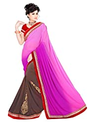 Winza Faux Georgette Saree With Blouse Piece (Half Half Pink/Cemen Red Lace Saree _Pink)