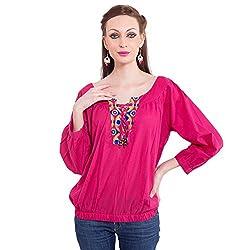 TUNTUK Women's Sakura Top Pink Cotton Top
