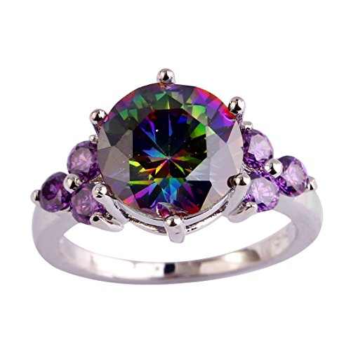 Psiroy 925 Sterling Silver Stunning Round Cut Rainbow Topaz Cocktail Filled Ring for Women