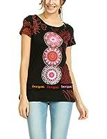 Desigual Berlin - T-shirt - Empire - Imprimé - Col bateau - Manches courtes - Femme