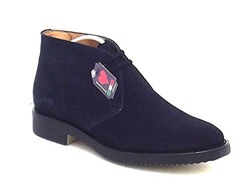 Soldini scarpa uomo, 17761, polacco in camoscio colore blu