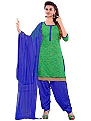 Inddus Women Green Colored Embroidered Dress material