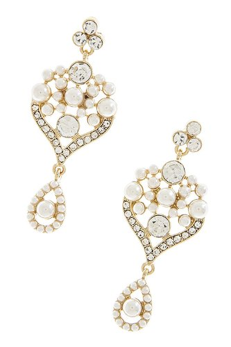 The Jewel Rack Pearl Cup Dangle Earrings (Gold) front-620880
