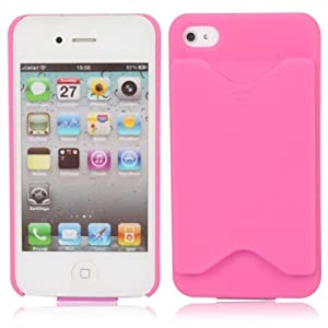 Kobwa(TM) Pink Credit Card Holder Gloss Hard Case Cover fit for the new iPhone4 4S With Kobwa's Keyring