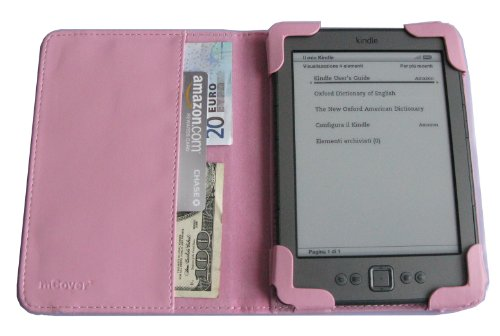 "Mcover Leather Folio Cover Case With Built-In Inner Pocket For Amazon Kindle 4Th Generation (Built-In Wi-Fi, 6"" E Ink Display, 5-Way Controller) - Pink"