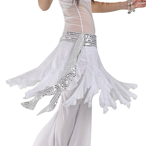 AveryDance Belly Dance Shiny Paillette Egyptian Nile Waist Mesh Tassel Short Skirt