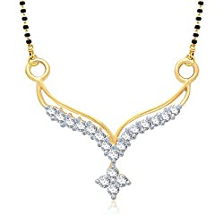 VK Jewels Sleek Gold and Rhodium plated Mangalsutra Pendant for Women- MP1014G [VKMP1014G]