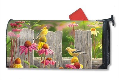 MailWraps Goldfinches and Coneflowers Mailbox Cover 01273