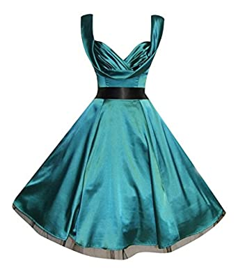 Ladies 1950's Vintage Style Green Silky Satin Sweetheart Drape Neck Prom Cocktail Dress (08)