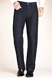 Autograph Cotton Rich Self Striped Trousers [T17-2085A-S]