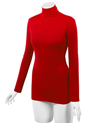LL WSK1030 Womens Long Sleeve Ribbed Turtleneck Pullover Sweater L RED