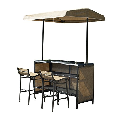 Outsunny 3 Piece Outdoor Mesh Cloth Canopy Bar Set - Table & Two Chairs (Outdoor Tiki Bar compare prices)