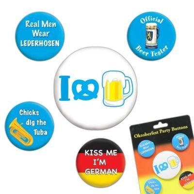 Oktoberfest Party Buttons (asstd designs) (5/Pkg)