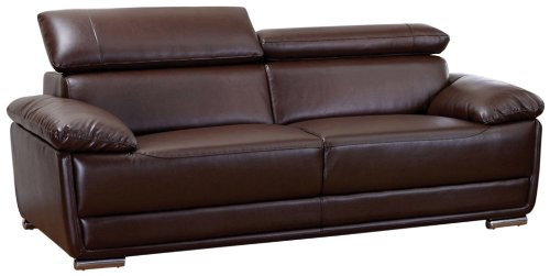 Delicieux AC Pacific Bonded Leather Kyle Sofa Dark Brown