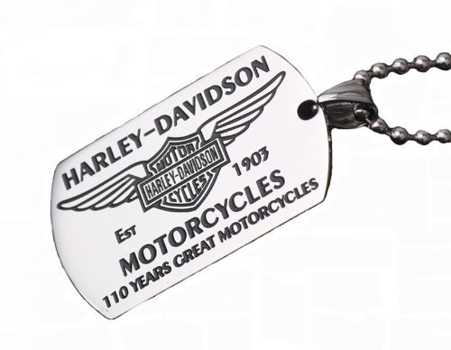 Harley Davidson Stainless Steel Dog Tag Pendant