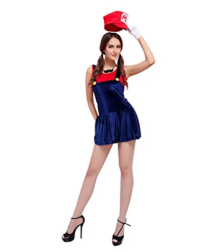 Candygirl Womens Super Mario Brothers Mario Female Adult Costume 5 Piece Set