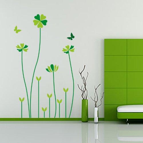 Createforlife Home Decoration Vinyl Wall Sticker Decals Mural Art Green Lucky Flowers Wishes