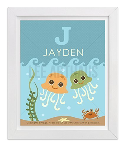 61P Personalized Name Letter J Jellyfish and Crab UNFRAMED Wall Art Print by Lee ArtHaus