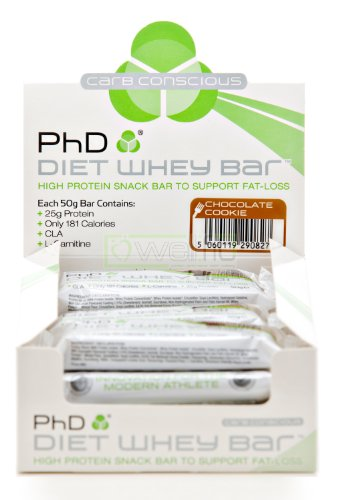 PhD Chocolate Cookie Flavoured 50g Diet Whey Protein Bar 12 Bars