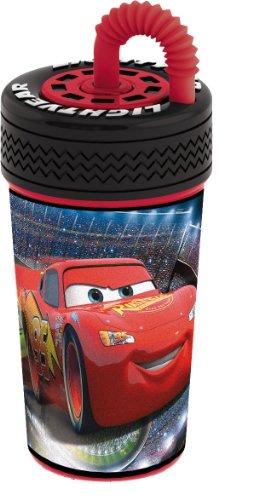 Imagen principal de Joy Toy 734331 Cars 2 - Cantimplora con pajita y tapa con diseño de rueda