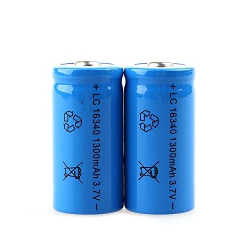 Unitek 1300mAh 3.7V 16340 CR123A piles rechargeable Lithium Batterie rechargeable Lithium 1300mAH