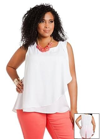 Ashley Stewart Women's Plus Size Side Ruffle Hi-Lo Blouse White 12