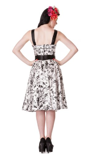 Hell Bunny White Tattoo Flocked Dress XS - Size 6 / EU 34