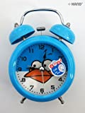 8815 Extremly Silent Cool Angry Birds Twin Bell Metal Alarm Clock - Blue