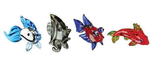Looking Glass Miniature Collectible - Gold Fish / Angel Fish / Betta Fish / Koi (4-Pack)