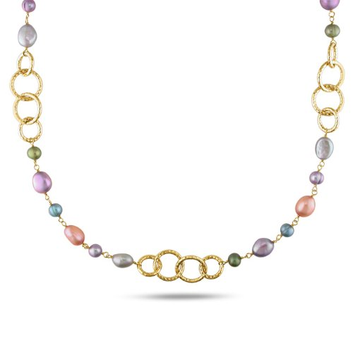 Multicolored FW Pearl Round Link Necklace