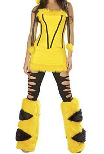 GuPoBoU168 Womens Cute Pikachu Cosplay 4 Pieces Halloween Costume Set